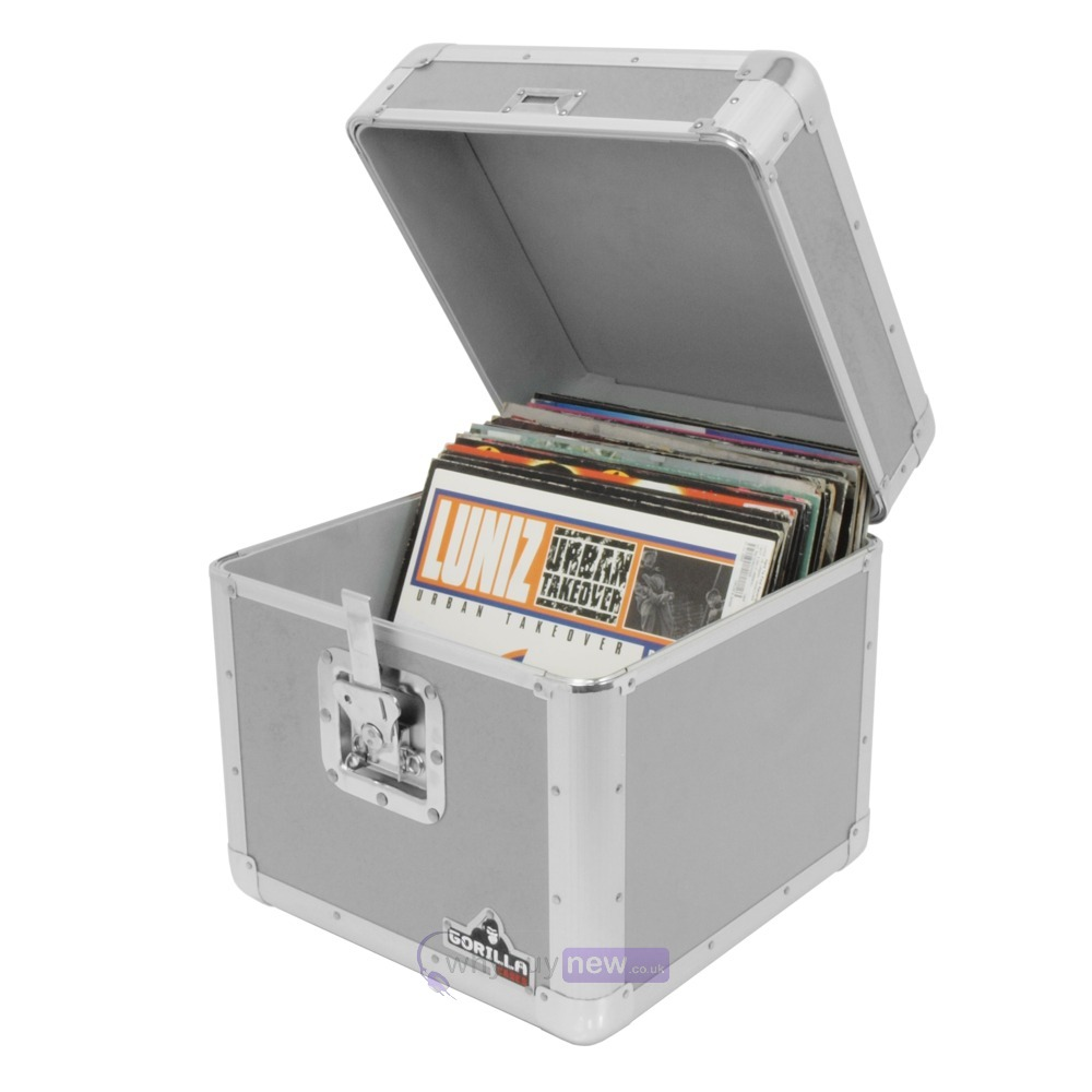 Gorilla LP100 Vinyl Record Storage Case Silver (Holds 100)