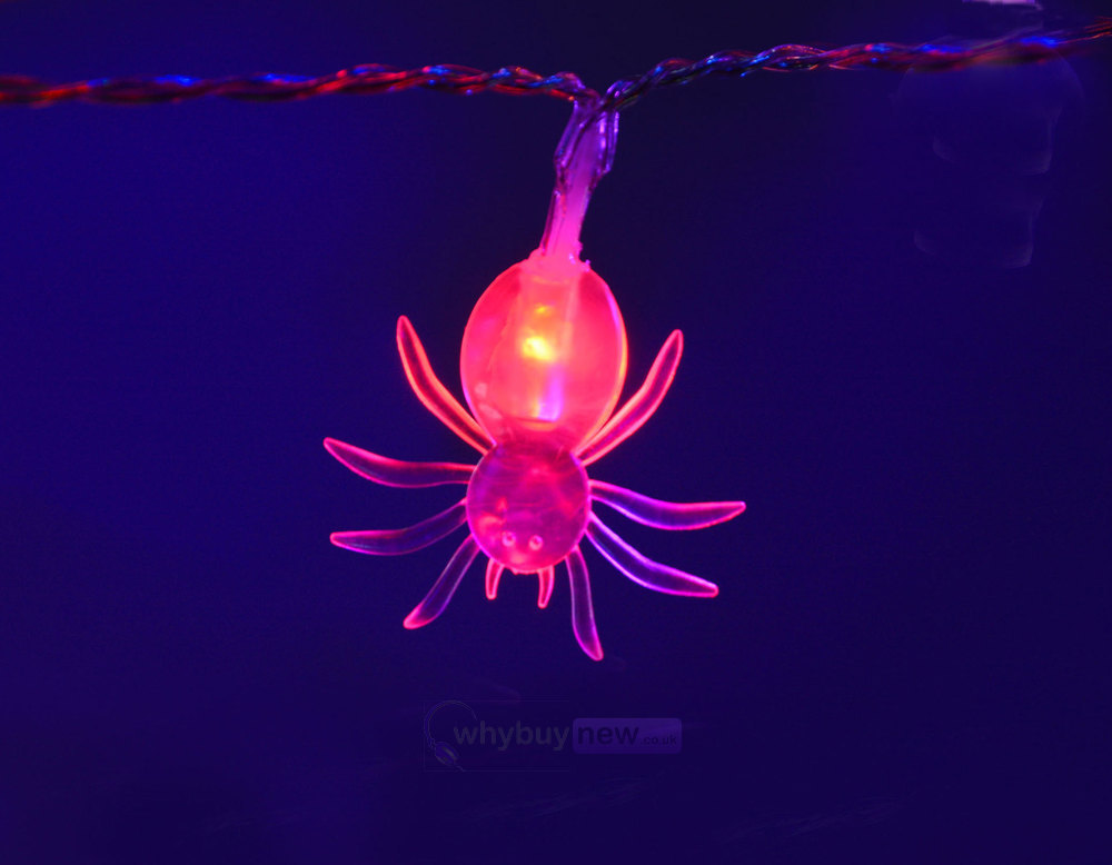 QTX LED Halloween String Lights - 10xRed Spiders whybuynew.co.uk
