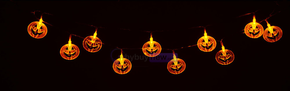 QTX LED Halloween String Lights - 10xOrange Pumpkins whybuynew.co.uk