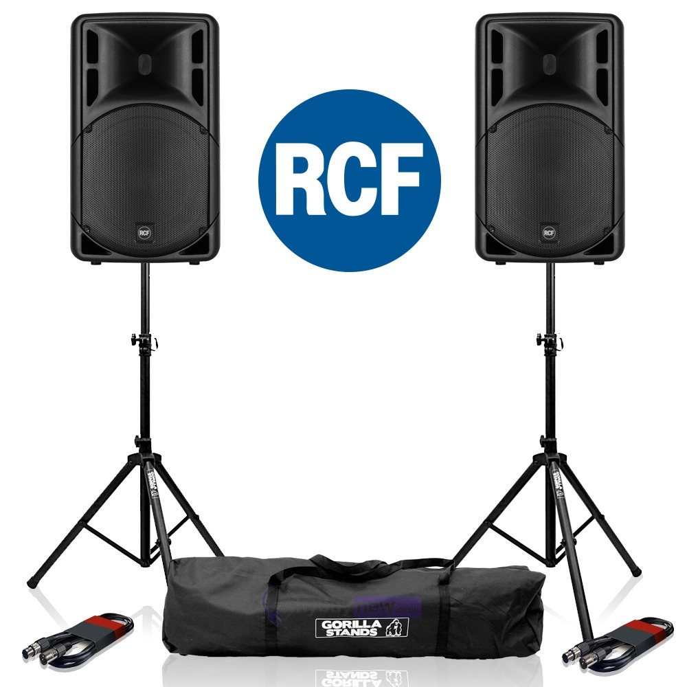RCF Art 312-A MK4 Speaker (Pair) + Stands & Cables