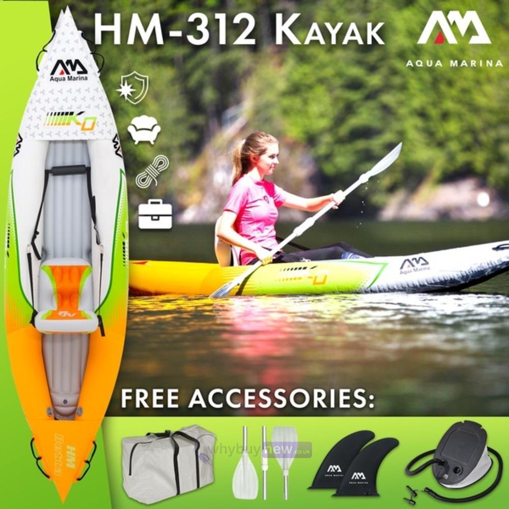 2019 Aqua Marina HM-K0 Single 1 Person Inflatable Kayak Inc Paddle