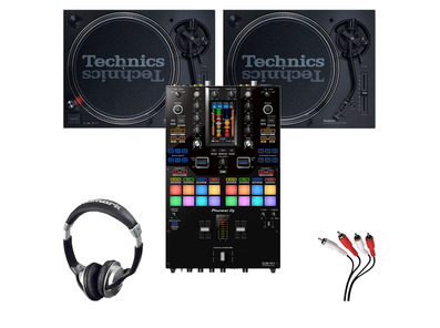 Technics SL-1210 MK7 (x2) + Pioneer DJM-S11 with Headphones + Cable