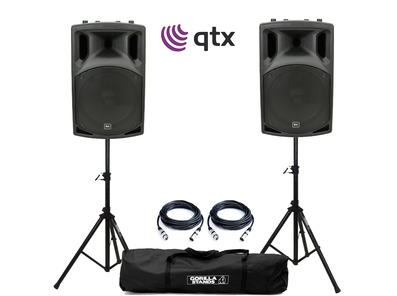 QTX QX15A Active Speakers with Stands and Cables