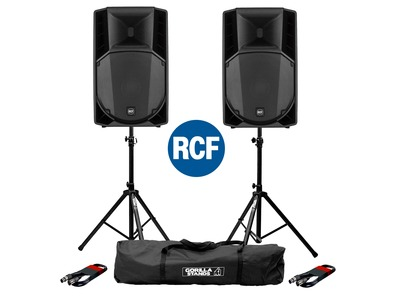 RCF Art 715-A MK4 PA Speaker (Pair) & Stands & Cables