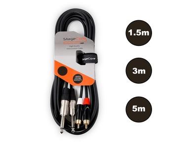 StageCore 2x 6.35mm Mono Jack - 2x Male RCA Cable