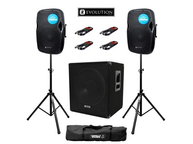 Evolution Audio RZ12A (Pair) & EL SUB 15A with Stands & Cables