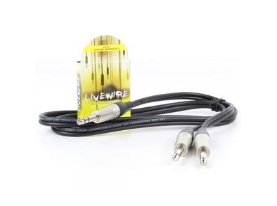 Livewire Stereo Jack Plug to 2x Mono Jack Plugs Insert Lead Black 1.5M