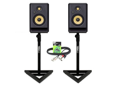 KRK Rokit RP5 G4 (Pair) with Studio Monitor Stands & Cable
