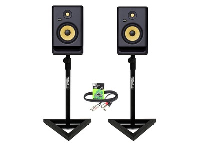 KRK Rokit RP7 G4 (Pair) with Studio Monitor Stands and Cable
