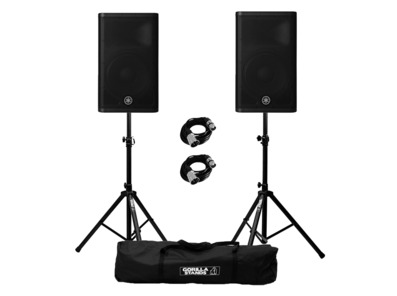 Yamaha DXR12 MkII (Pair) with Stands and Cables