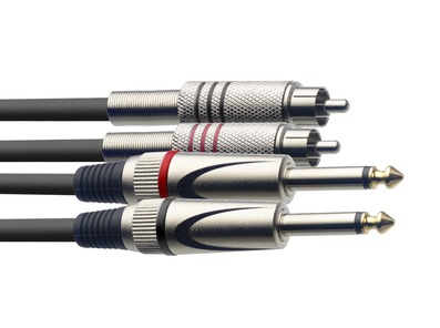 STAGG STC060PCM Cable 2 x Mono Jack To 2 x RCA Phono Twin Lead