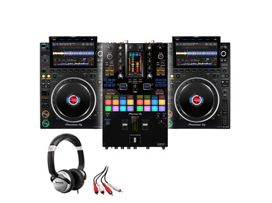 Pioneer CDJ-3000 (x2) +DJM-S11 with Headphones + Cable