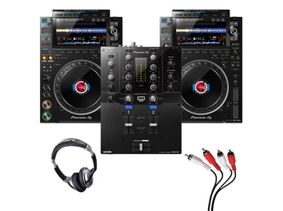 Pioneer CDJ-3000 (Pair) + DJM-S3 with Headphones + Cable