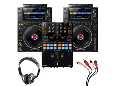 Pioneer CDJ-3000 (Pair) + DJM-S7 with Headphones + Cable