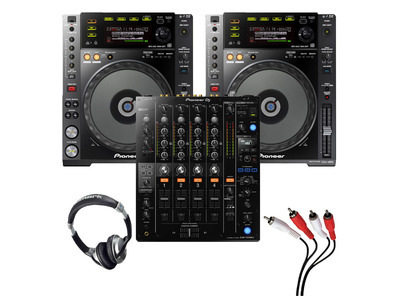 Pioneer CDJ-850 (Pair) + DJM-750MK2 with Headphones + Cable