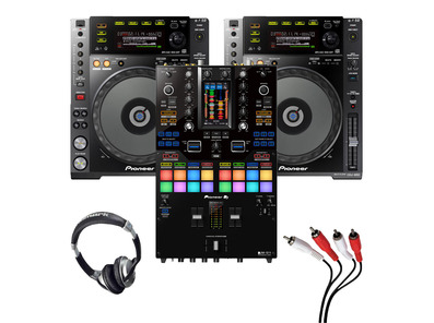 Pioneer CDJ-850 (Pair) + DJM-S11 with Headphones + Cable