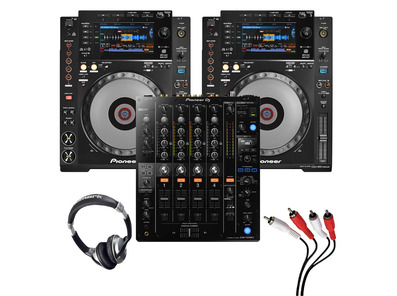 Pioneer CDJ-900 NXS (Pair) + DJM-750 MK2 with Headphones + Cable