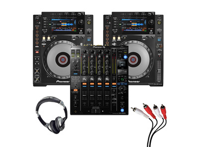 Pioneer CDJ-900 NXS (Pair) + DJM-900 NXS2 with Headphones + Cable