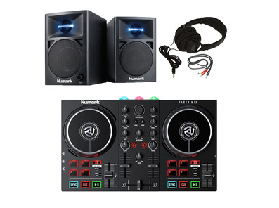 Numark Party Mix II + N-Wave 360 (Pair) with Headphones + Cable