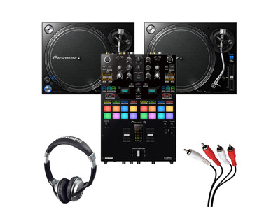 Pioneer PLX-1000 (Pair) + DJM-S7 with Headphones + Cable