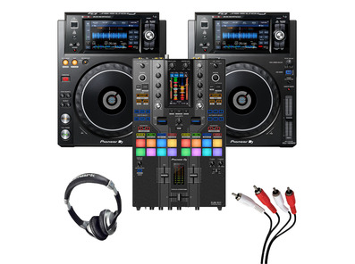 Pioneer XDJ-1000 MK2 (Pair) + DJM-S11 SE with Headphones + Cable