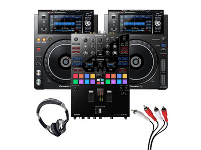 Pioneer XDJ-1000 MK2 (Pair) + DJM-S9 with Headphones + Cable