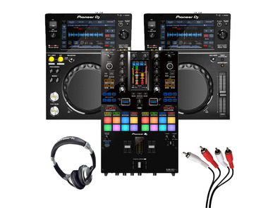 Pioneer XDJ-700 (Pair) + DJM-S11 with Headphones + Cable