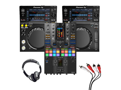 Pioneer XDJ-700 (Pair) + DJM-S11 SE with Headphones + Cable