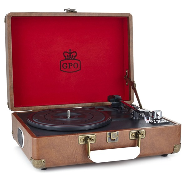 Gpo Attache Vintage Brown Portable Briefcase Record Player