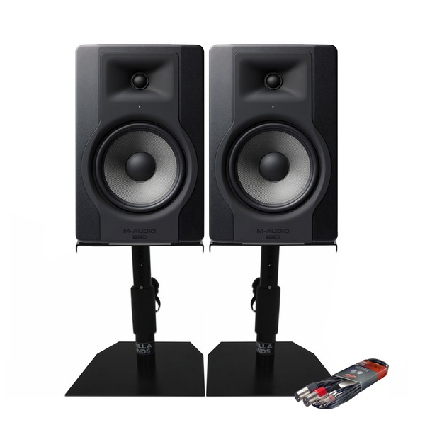 m audio bx8 d3 8 inch studio monitor speakers inc desktop stands cable package ebay. Black Bedroom Furniture Sets. Home Design Ideas