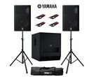 Yamaha DXR15 (Pair) & DXS18 with Stands & Cables