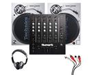 Technics SL1200MK7 (Pair) + M6 USB Mixer with Headphones + Cable