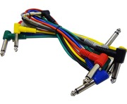 6 Coloured 6.3mm Jack Guitar Patch Leads 0.3m 1/4""