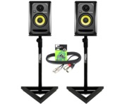 2x KRK Rokit RP4 G3 with Monitor Stands & Cables
