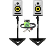2x KRK Rokit RP4 G3 White with Gorilla GSM-100 Monitor Stands & Cables
