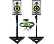 2x KRK Rokit RP4 G3 Silver - Gorilla GSM-100 Monitor Stands & Cables
