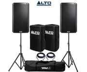 Alto TS212W Speaker Pair with Gorilla Speaker Stands Covers & Cables