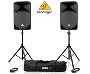 Behringer B115D Speaker (Pair) with Stands & Cables