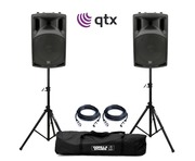 QTX QX12A Active Speakers with Stands and Cables