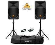 Behringer B112D Speaker (Pair) with Stands & Cables