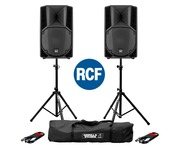 RCF Art 712-A MK4 PA Speaker (Pair) with Stands & Cables