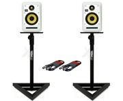 KRK V6S4 White Noise (Pair) with GSM-100 Stands & Cables