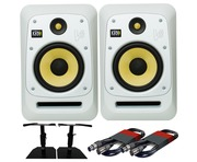 KRK V8S4 White Noise (Pair) with GSM-50 Stands & Cables