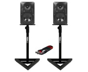 Mackie MR624 (Pair) with GSM-100 Stands & Cable