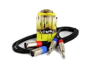 Proel Livewire 2 x Male XLR - 2 x 6.35mm Mono Jack Cable 1.5 Metre