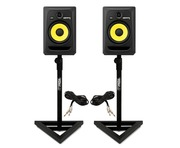 2x KRK Rokit RP8 G3 With Gorilla Monitor Stands & Cables