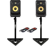 KRK V8S4 (Pair) with GSM-100 Stands & Cables