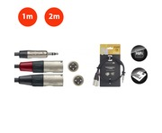 Stagg Professional Stereo Mini 3.5mm Jack to Twin Male XLR Cable