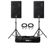 Yamaha DXR12 Speaker (Pair) with Stands & Cables