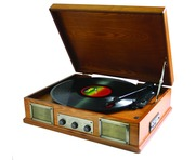 Steepletone USB Norwich Retro Wooden Record Light Wood
